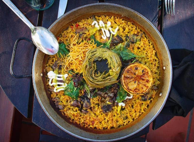 Paella Verduras at Loquita in Santa Barbara California