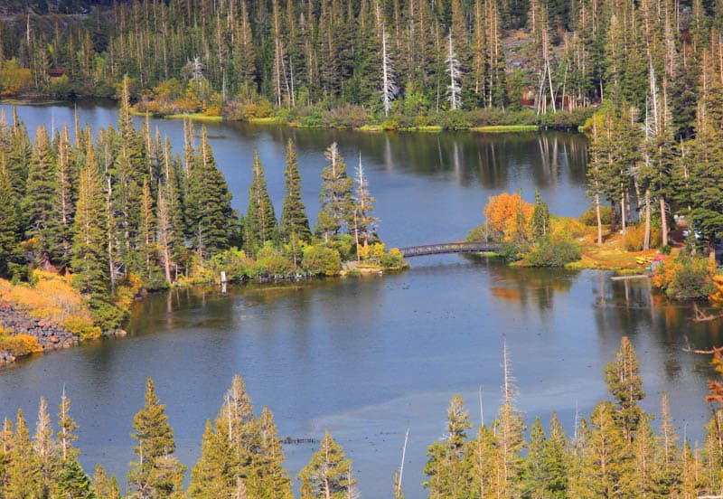 Aerial View of Twin Lakes in Mammoth Lakes California