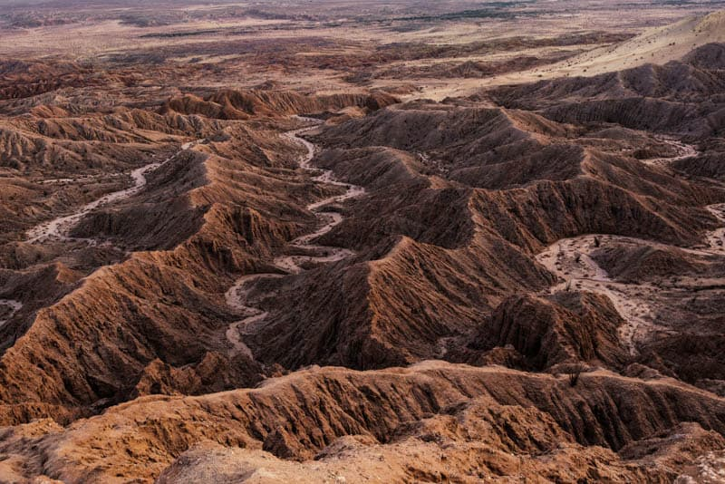 A view of the badlands at Anza-Borrego Desert State Park in Southern California