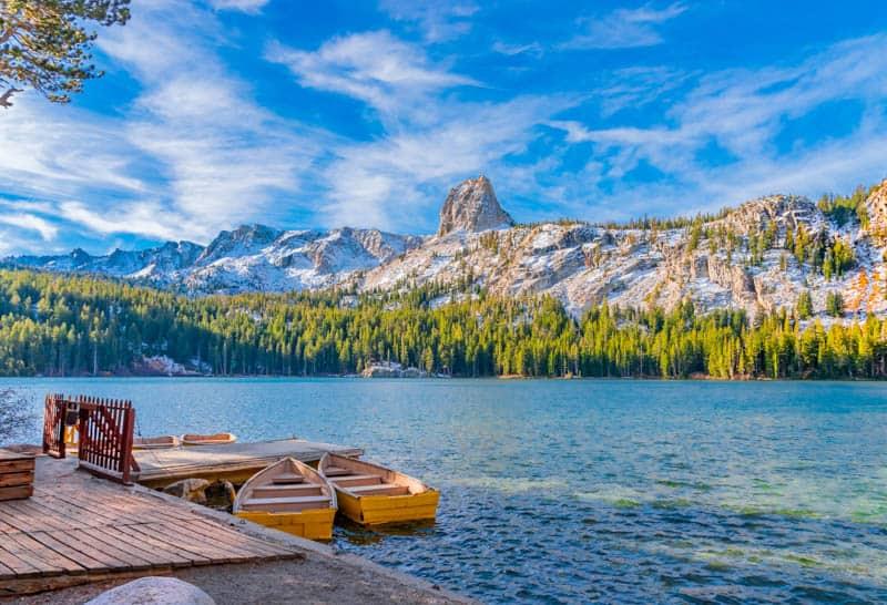 Boats at the dock at Lake George in Mammoth Lakes California