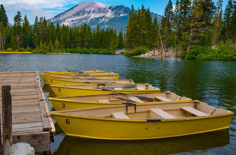 Boats lined up at a dock at Mammoth Lakes California