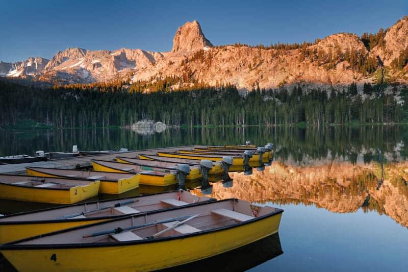 Boats at Lake Mary in Mammoth Lakes California