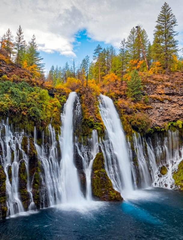 Burney Falls in northeastern California on a beautiful day