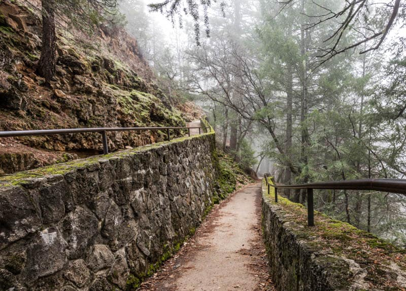 Hiking the Burney Falls Loop Trail in northeastern California in the fog