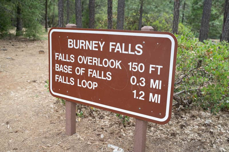 Burney Falls Trail Sign in northeast California