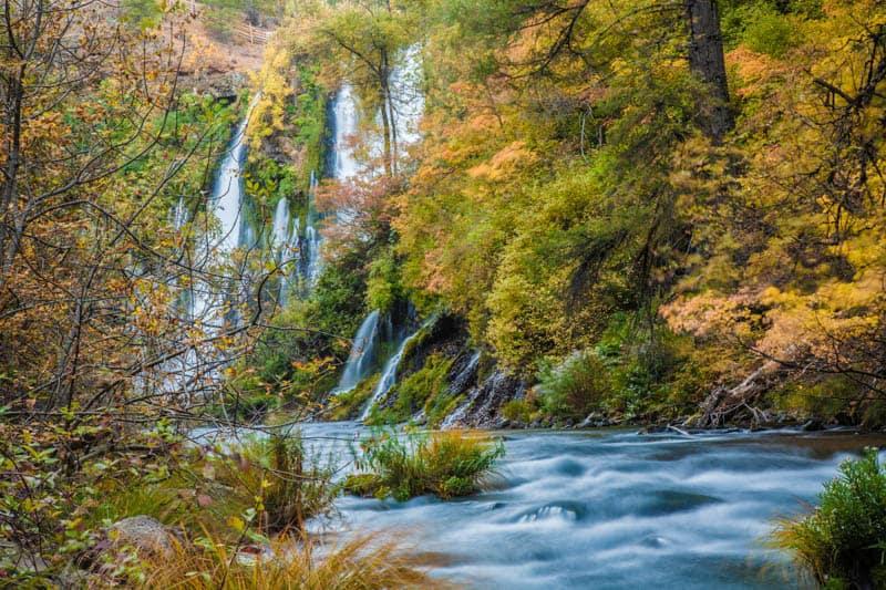Fall foliage at Burney Falls in California