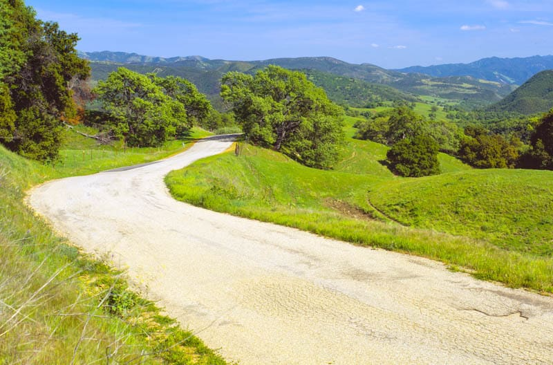 Driving scenic Carmel Valley Road in California
