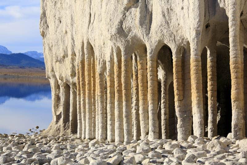 The columns at Crowley Lake near Mammoth Lakes California