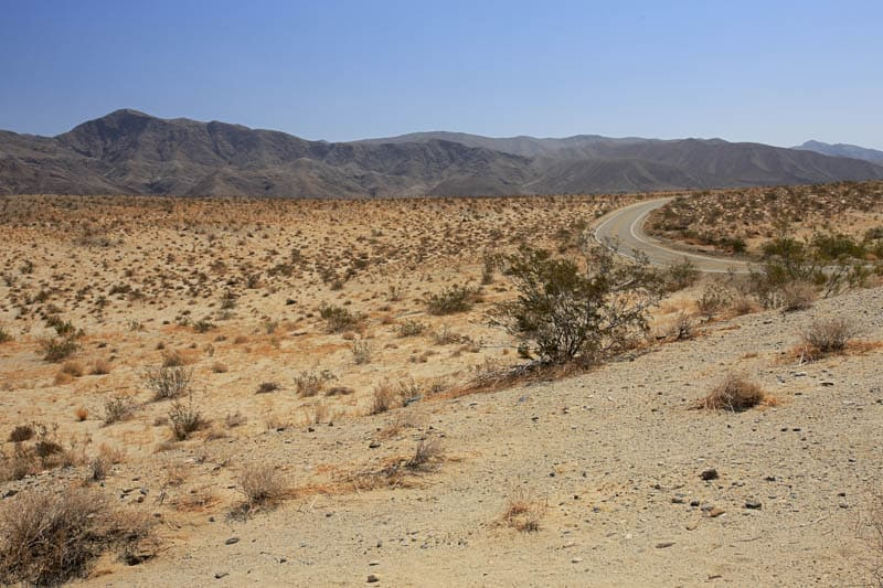Driving S-22 through Anza-Borrego Desert State Park in California