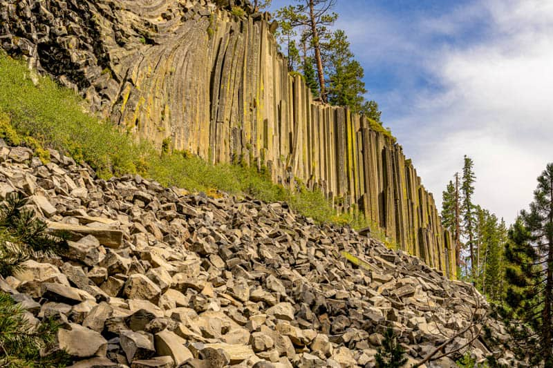 The Devils Postpile Columnar Formation in Mammoth Lakes California