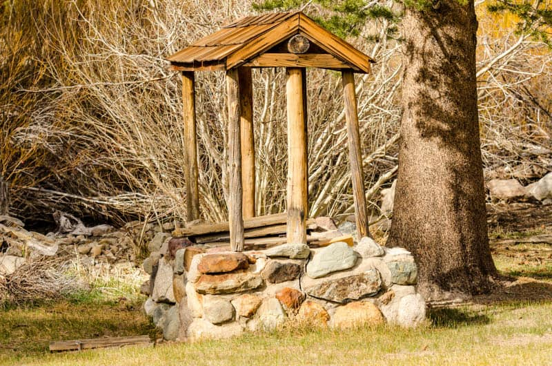 An old well at the Mammoth Museum in Mammoth Lakes California