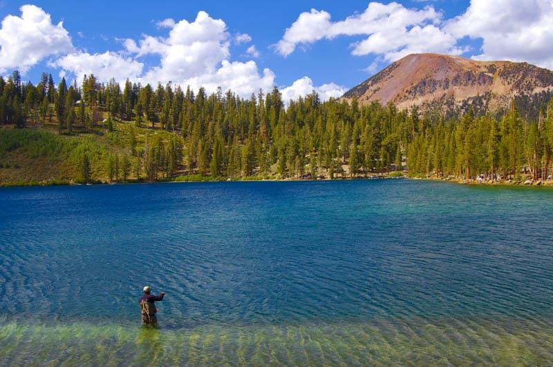 Fisherman at Lake George in Mammoth Lakes California