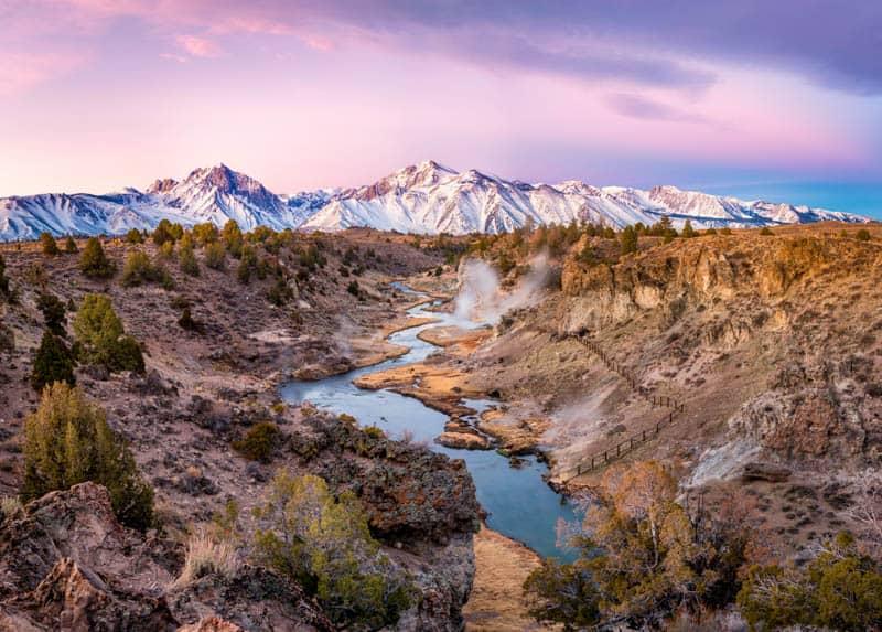 Hot Creek Geologic Site near Mammoth Lakes California at sunrise