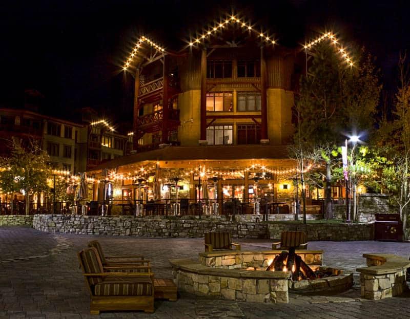 Mammoth Village lit up at night. Mammoth Lakes, California