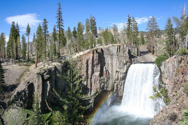 Rainbow Falls at Mammoth Lakes on a bright summer day