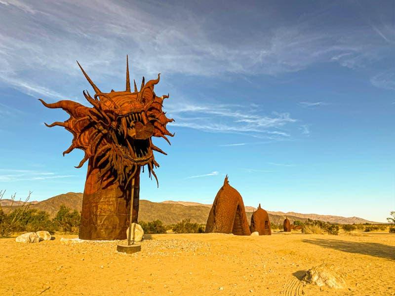 The serpent sculpture in Galleta Meadows in California