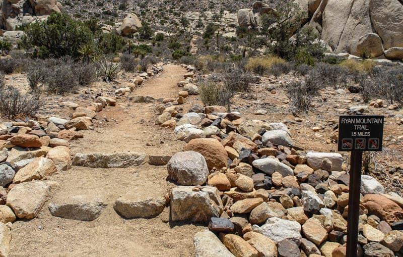 Start of the Ryan Mountain Trail in Joshua Tree National Park California