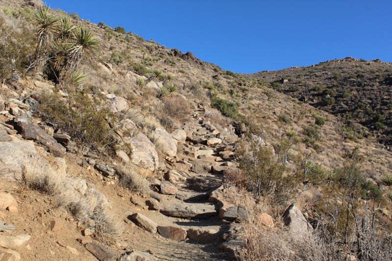 Steps on the Ryan Mountain Trail in Joshua Tree National Park, California