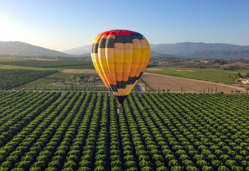 Hot air ballooning over the Temecula Valley in Southern California