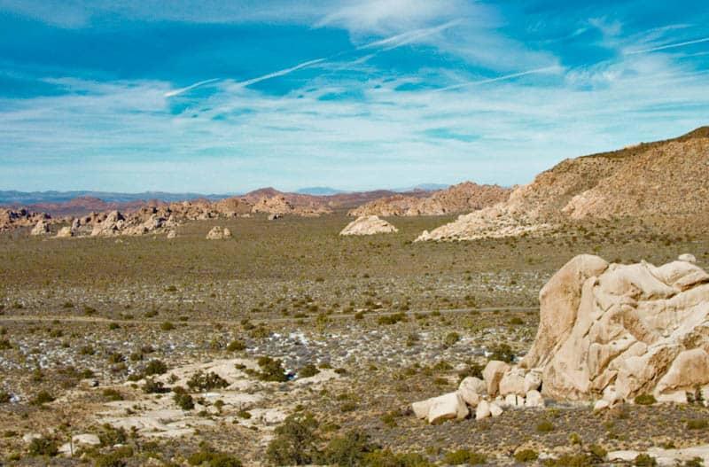 View of the Wonderland of Rocks from the Ryan Mountain Hike in Joshua Tree, California