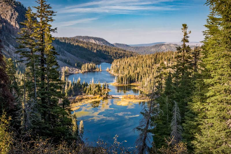 A view from the Twin Falls Overlook along Lake Mary Road in Mammoth Lakes