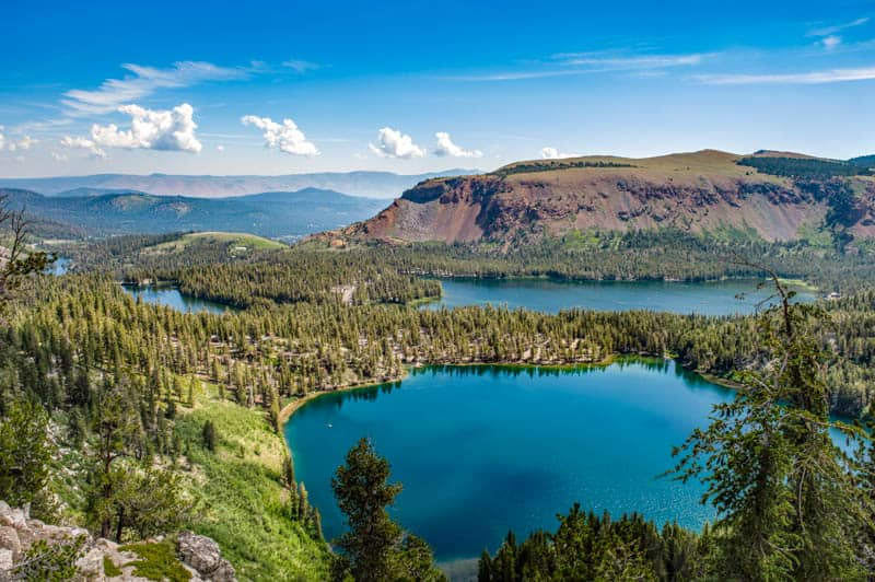 A view of some of the lakes in the Mammoth Lakes Basin in California