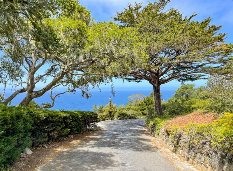Driving to a viewpoint in Carmel Highlands, California