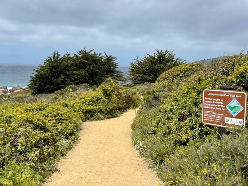 Bluff Trail Sign at Gate 8 in Garrapata State Park, Carmel, California