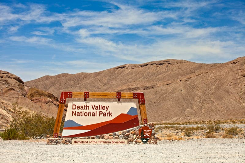 Sign at Death Valley National Park in California