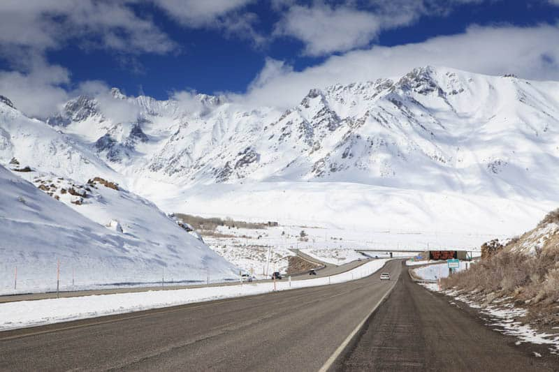 Driving Highway 395 in California in the winter