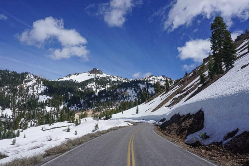 Driving Lassen Peak Highway through Lassen Volcanic NP in northeastern California