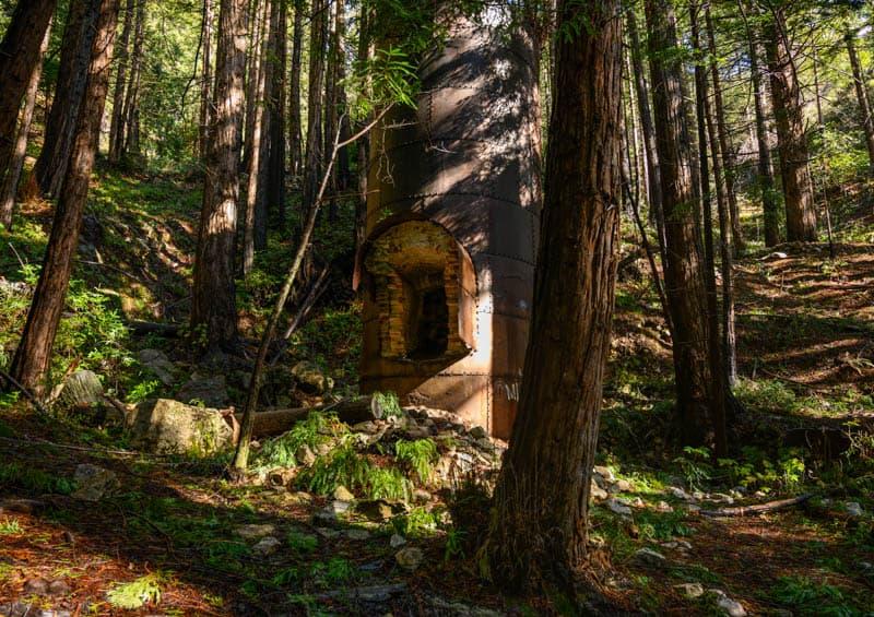 Lime kiln in Limekiln State Park in Big Sur California