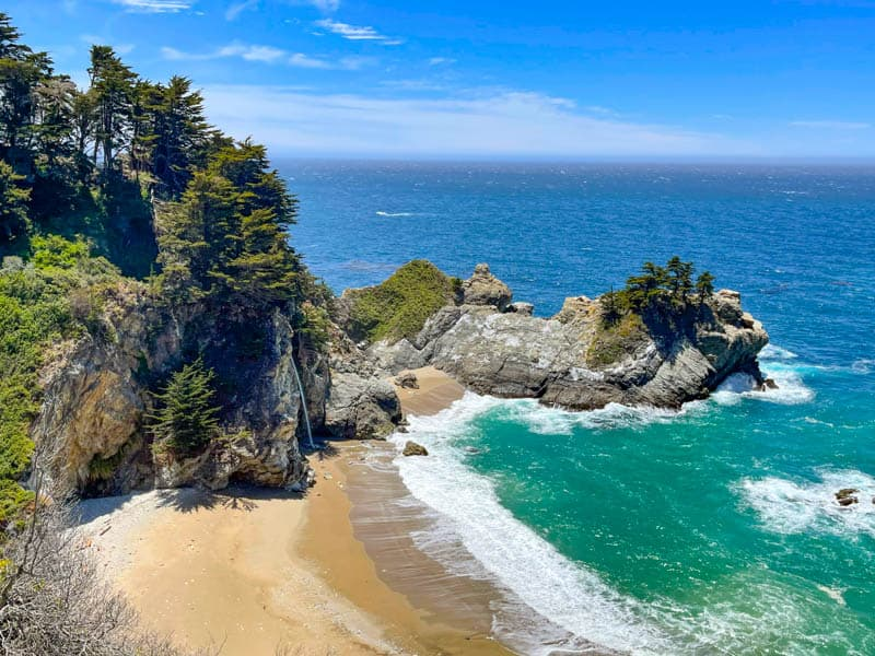 McWay Falls at Julia Pfeiffer Burns State Park in Big Sur, California, from the McWay Falls Overlook Trail.
