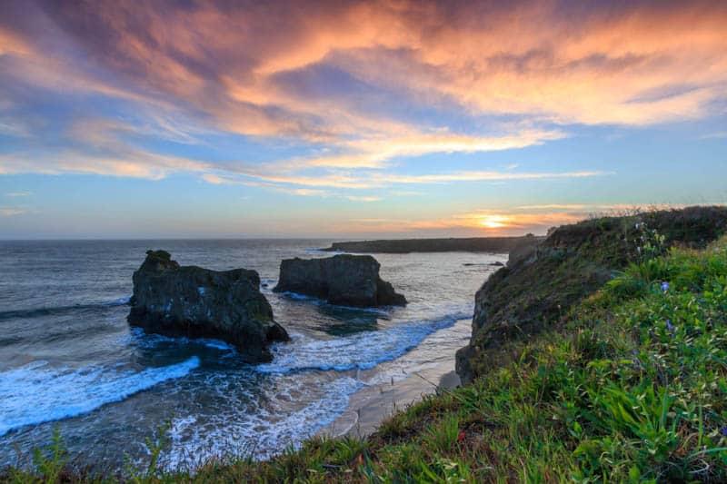 The beautiful coastline at Mendocino County in California.