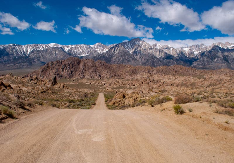 The famous Movie Road in the Alabama Hills of California