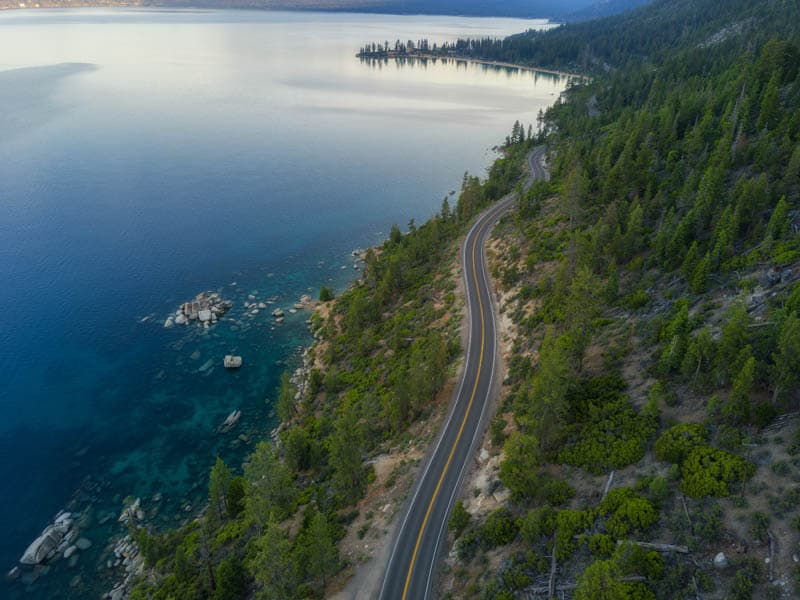 An aerial view of a part of the road around Lake Tahoe