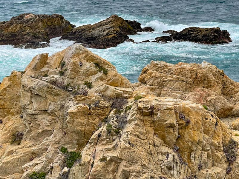 Rock formations seen from the Garrapata State Park Bluff Trail in Big Sur, California
