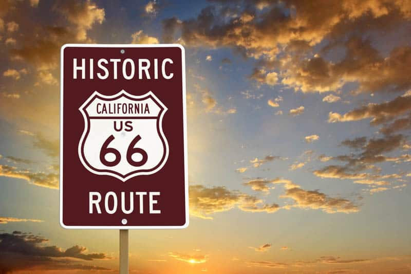 A Route 66 road sign