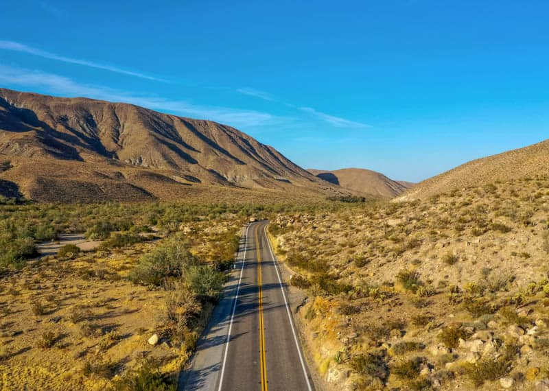 Driving County Route S 22 through Anza-Borrego Desert State Park in Southern California