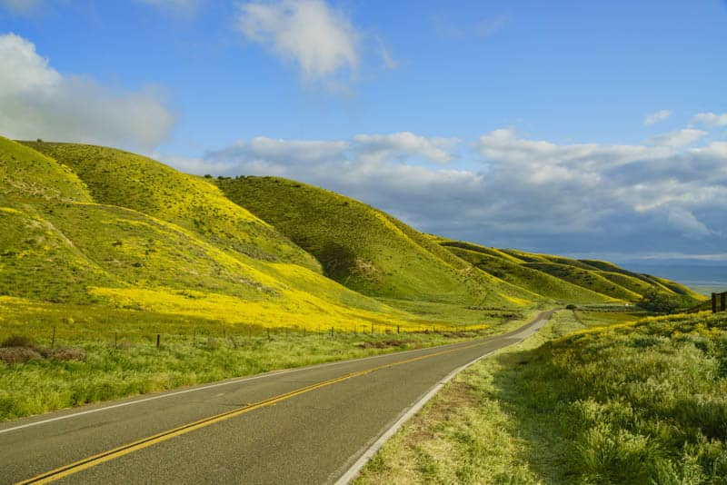 Soda Lake Road through Carrizo Plain National Monument in California