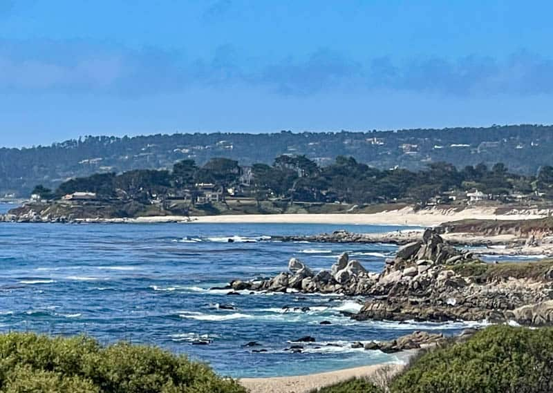 View of the ocean from the gardens of the Carmelite Monastery in Carmel California