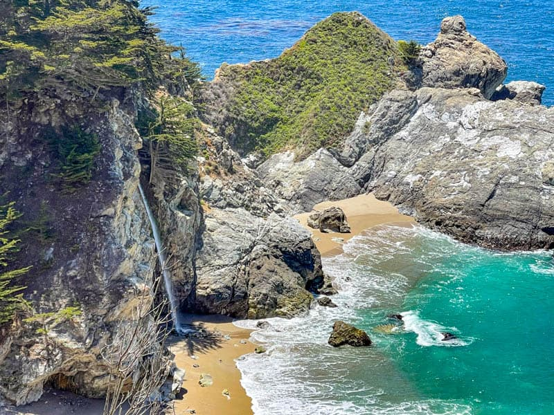 McWay Falls in Big Sur, California, on a clear bright spring day