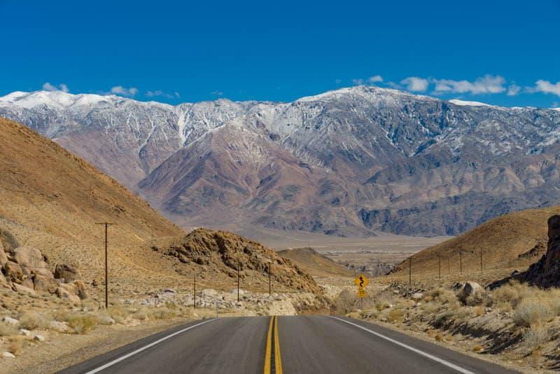 Heading for the Sierra Nevadas along Whitney Portal Road in eastern California
