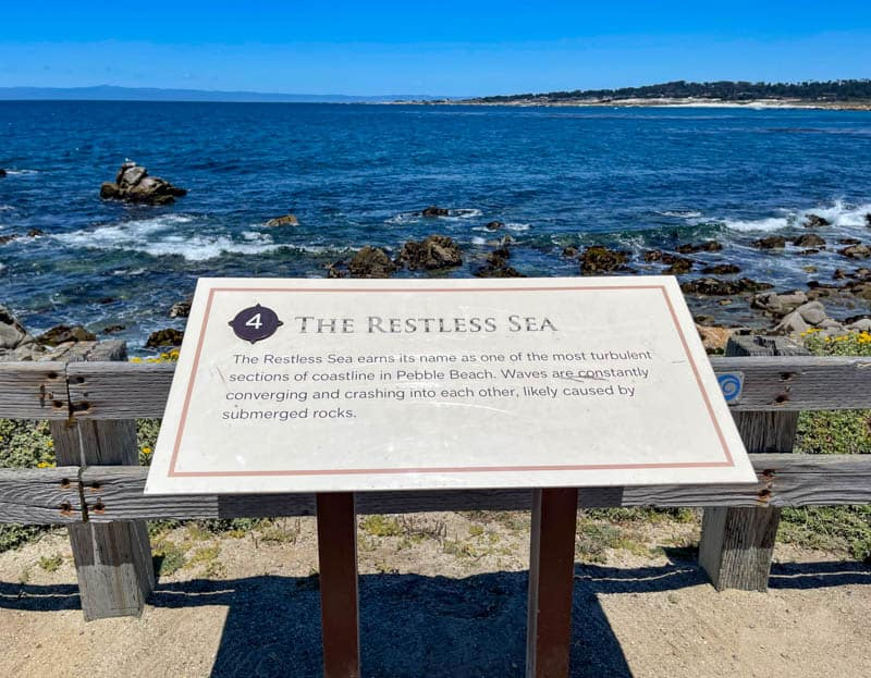 Information plaque at the Restless Sea stop on the 17-Mile Drive in California