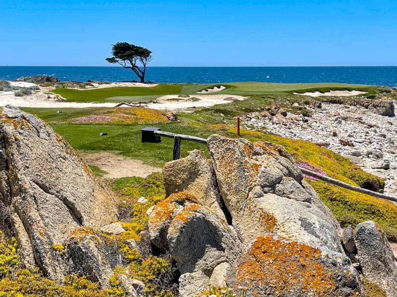 View of a golf course from the 17-Mile Drive in Pebble Beach California