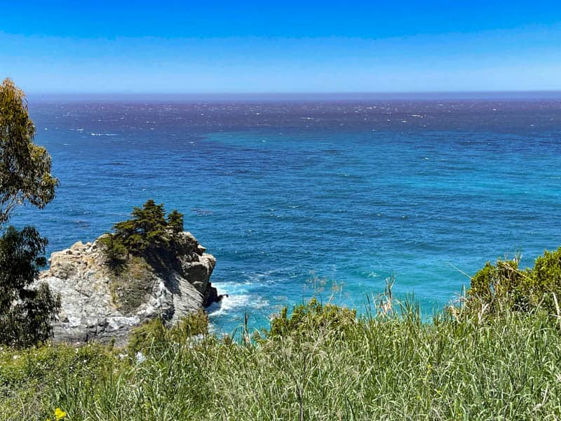 A view of the Pacific Ocean from the McWay Falls Overlook in Big Sur