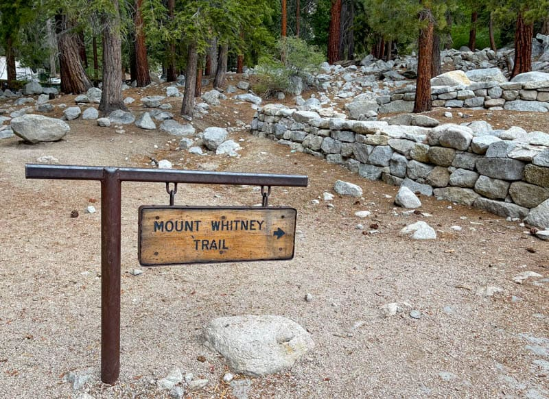 Mount Whitney Trail Sign at Whitney Portal in Lone Pine California
