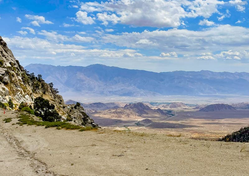 View into the Alabama Hills and the Owens Valley from the Whitney Portal Road