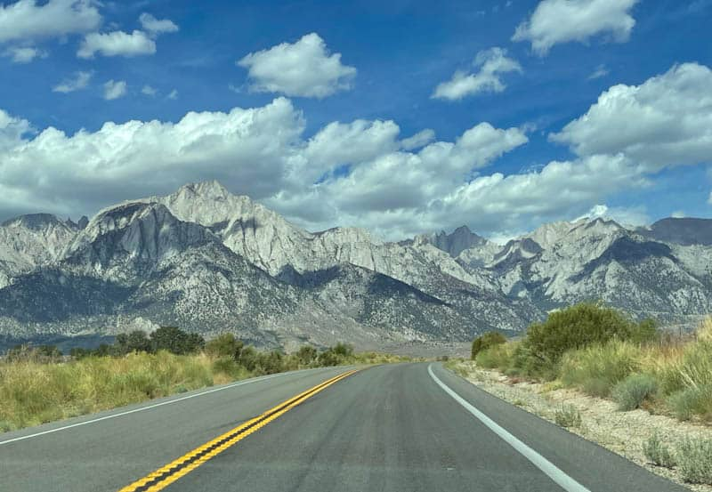 Driving Whitney Portal Road in California during the day