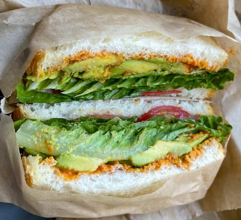 Veggie sandwich from Pupfish Cafe in Bishop, CA!